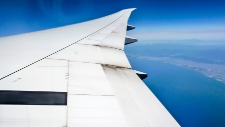Plane wing in flight